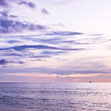 sea scene: beautiful sunset over calm sea, samui, thailand