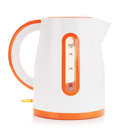 electric: plastic electric kettle, isolated on white background