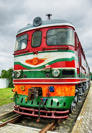 soviet: vintage soviet electric locomotive at cloudy day Stock Photo