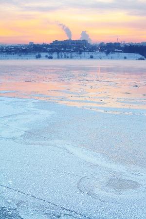 crack pipe: winter sunset over Angara River at Irkutsk, Russia Stock Photo