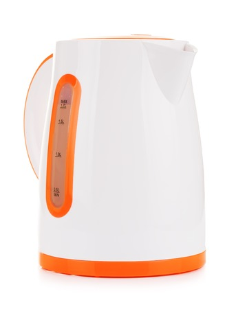 stand teapot: plastic electric kettle, isolated on white background