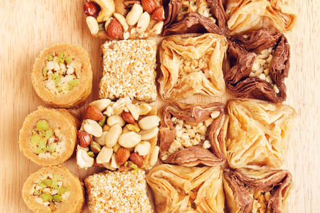 baklava: different oriental sweets baklava on wooden table