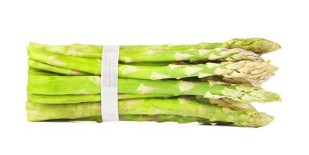 bunch of fresh green asparagus, isolated on white
