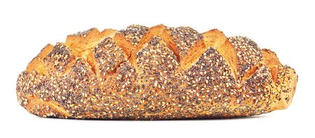 white bread with poppy, isolated on white background Stok Fotoğraf