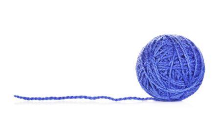 blue yarn ball, isolated on white background Stok Fotoğraf