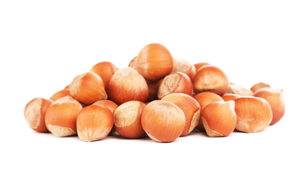 hazelnuts in a shell, isolated on white background Stok Fotoğraf