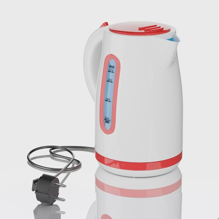 plastic electric kettle, gray background, 3d render
