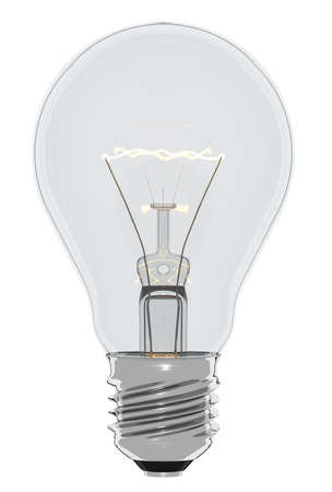 Electric light bulb, 3d render, isolated on white background