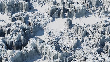 snow mountain landscape at daytime, 3d render Stok Fotoğraf