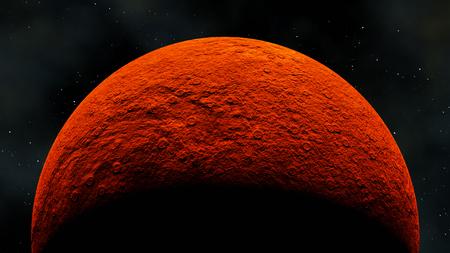 solid planet under red light star sun, 3d render Stok Fotoğraf
