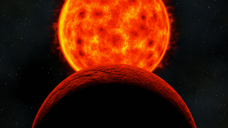 red dwarf star sun before eclipse rocky planet, 3d render