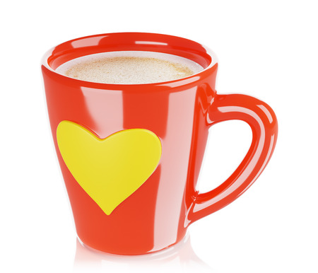 red coffee cup with heart-shaped ornament, isolated 3d render