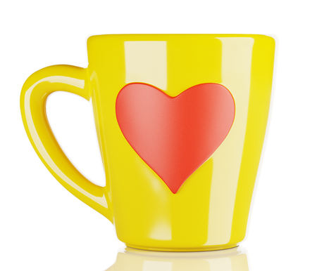 yellow coffee cup with heart-shaped ornament, isolated 3d render