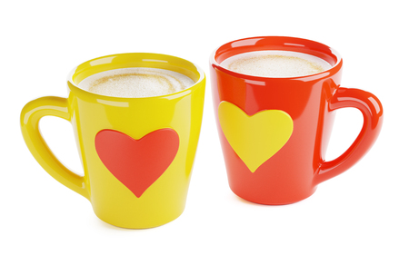 two coffee cups with heart-shaped ornament, isolated 3d render