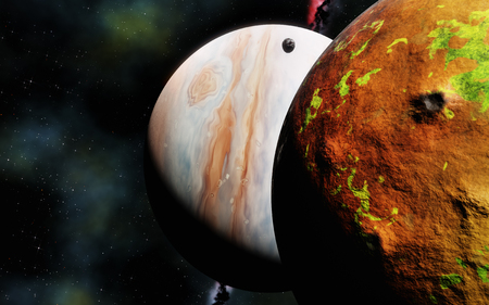 gas giant planet and volcanic moon (like Jupiter and Io), 3d render