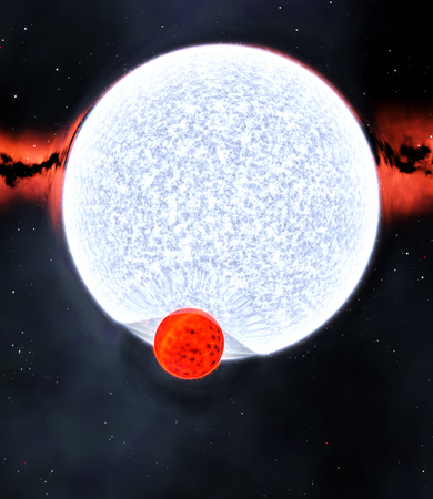 binary star system with red dwarf and blue giant and gravitational lensing effect, 3d render 版權商用圖片