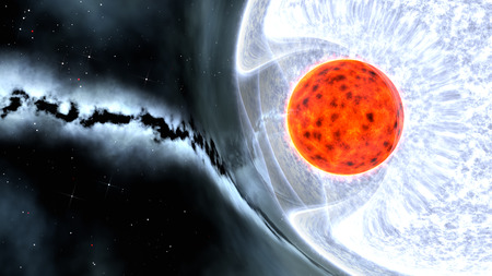binary star system with red dwarf and blue giant and gravitational lensing effect, 3d render Stok Fotoğraf