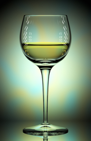 glass with white wine on colorful background, 3d illustration