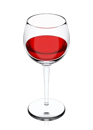 glass with red wine isolated on white background, 3d illustration