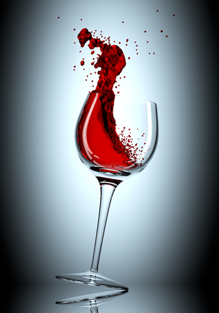 glass with red wine splash on blue background, 3d illustration