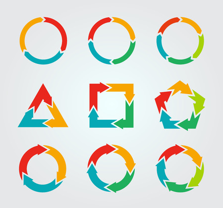 Vector circle arrows for infographic. Template for diagram, graph, presentation and chart. Business concept with 3, 4, 5 options, parts, steps or processes Ilustração
