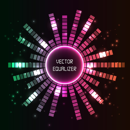 Circlel vector equalizer background for club, radio, party, concerts or the audio technology advertising background. Vector