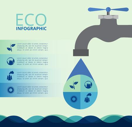 fontaneria: Infografía de la ecología, concepto de diseño con agua. Resumen de antecedentes. Vectores
