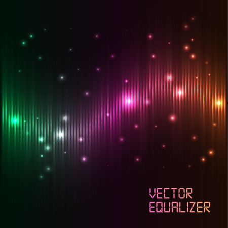 Vector digital equalizer with colored lights on a black background. Vector illustration can be used for interfaces in postcards and musical banners. Illustration