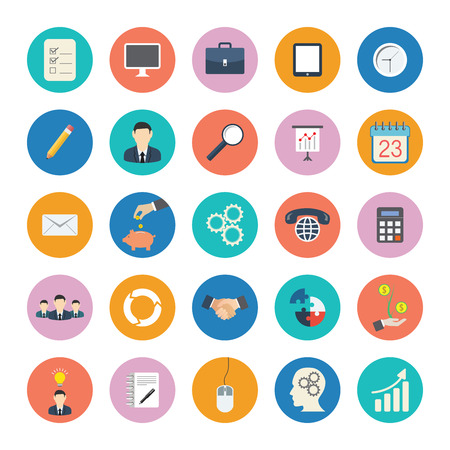 Modern flat icons vector collection in stylish colors of business elements, office equipment and marketing items. Çizim