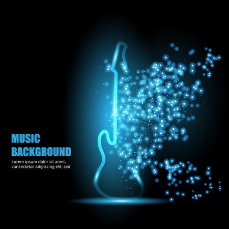 composing: Illustration of neon light guitar. Abstract background. Illustration