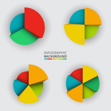 segmented: Segmented and multicolored pie charts set from three to six divisions. Vector illustration. Illustration