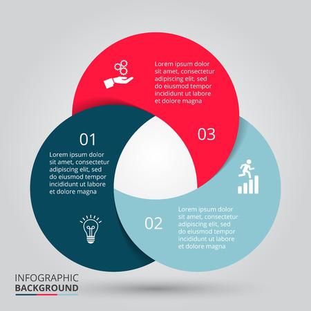 Vector elemento círculo de infografía. Plantilla de diagrama de ciclismo, gráfica, presentación. Concepto de negocio con 3 opciones, partes, etapas o procesos. Resumen de antecedentes.