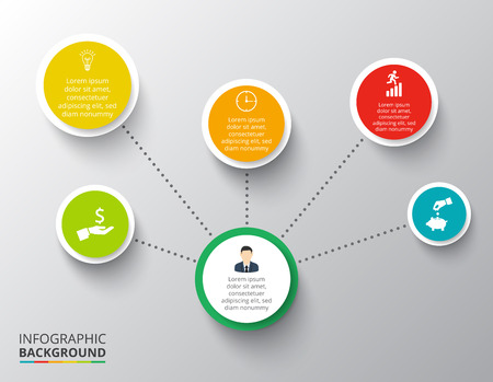 Vector circle elements for infographic. Template for cycling diagram, graph, presentation. Business concept with 6 options, parts, steps or processes. Abstract background.