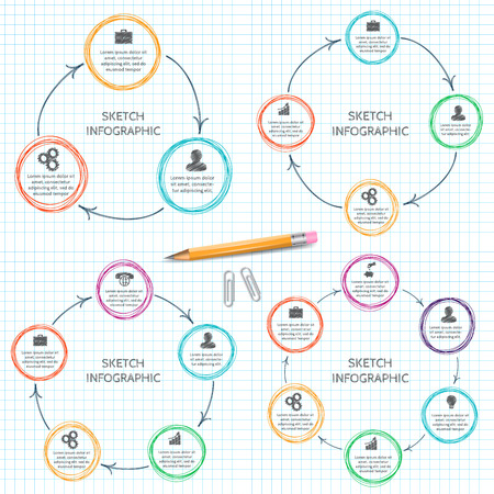 Vector doodle circle elements with arrows for infographic. Template for cycling diagram, graph, presentation. Business concept with 3, 4, 5, 6 options, parts, steps or processes.