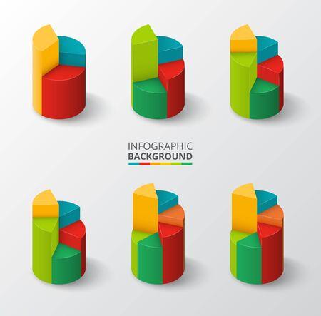 graficas de pastel: Segmentados y gr�ficos circulares multicolores fijados. Ilustraci�n del vector. Vectores