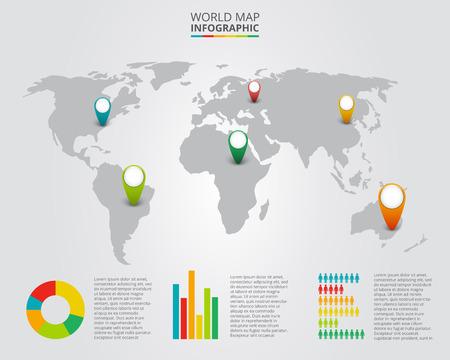 Vector wereldkaart met infographic elementen. Abstracte achtergrond.