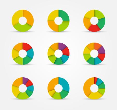 graficas de pastel: Gráficos circulares segmentados y multicolores establecen de tres a ocho divisiones. Ilustración del vector.