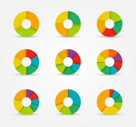pie chart icon: Segmented and multicolored pie charts set from three to eight divisions. Vector illustration.