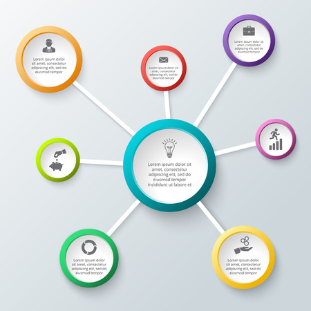 Vector circle elements for infographic. Template for cycling diagram, graph, presentation and round chart. Business concept with 8 options, parts, steps or processes. Abstract background.