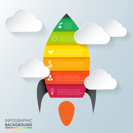 colour chart: Vector rocket element for infographic. Template for diagram, graph, presentation. Business concept 6 options, parts, steps or processes. Abstract background.