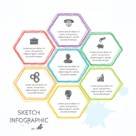 strategy diagram: Vector doodle sketch elements for infographic. Template for diagram, graph, presentation. Business concept with 7 options, parts, steps or processes. Abstract background.