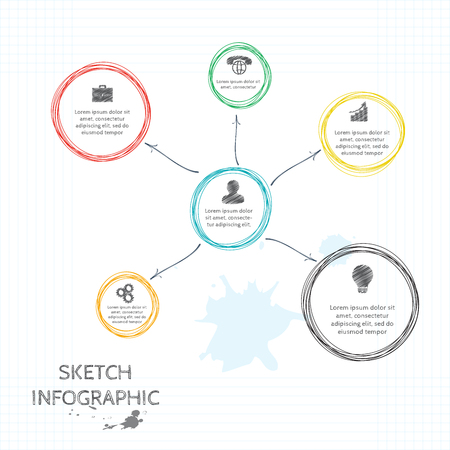 Vector doodle sketch elements for infographic. Template for diagram, graph, presentation and round chart. Business concept with 6 options, parts, steps or processes. Abstract background. Vector