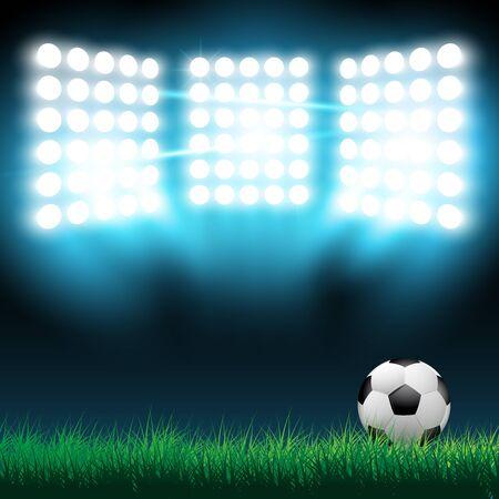 floodlight: Illustration of football ball on the grass on the stadium with lights.