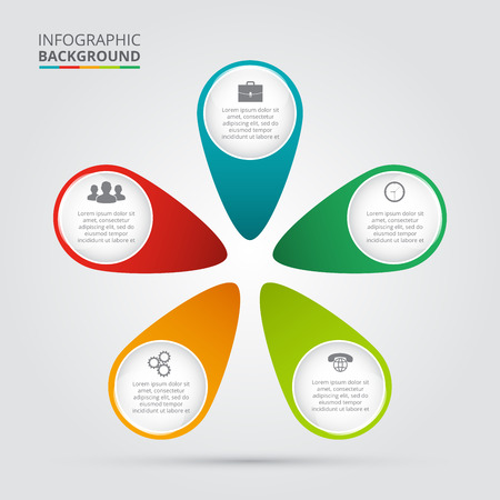 Vector circle element for infographic. Template for cycling diagram, graph, presentation and round chart. Business concept with 5 options, parts, steps or processes. Abstract background. Ilustração