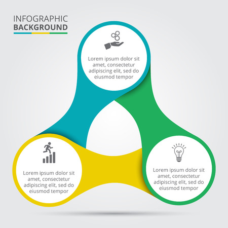 Vector circle element for infographic. Template for cycling diagram, graph, presentation and round chart. Business concept with 3 options, parts, steps or processes. Abstract background. Ilustração