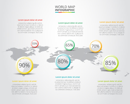 Vector world map with infographic elements. Abstract background.