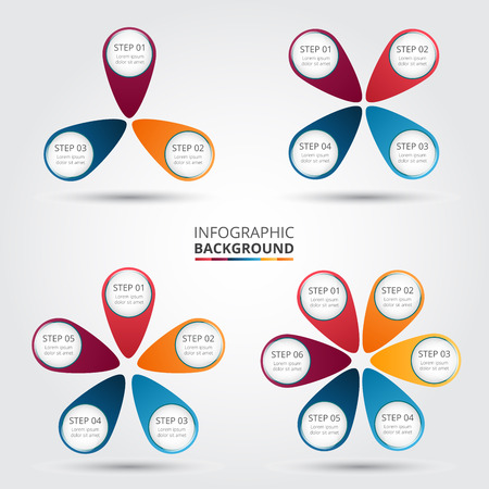 5 6: Vector circle elements for infographic. Template for cycling diagram, graph, presentation and round chart. Business concept with 3, 4, 5, 6 options, parts, steps or processes. Abstract background.