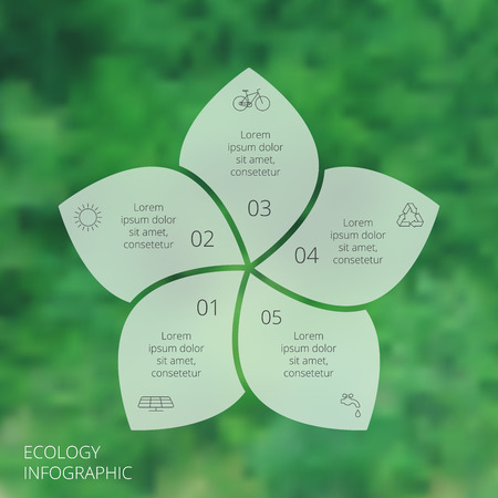 teamwork business: Vector circle eco infographic. Ecology template for diagram, graph, presentation and chart. Environmental care concept with 5 options, parts, steps or processes. Vector blur background.