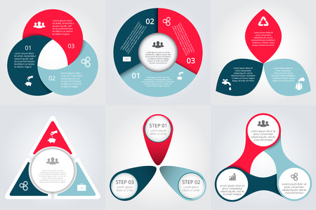 three colors: Vector circle elements set for infographic. Template for cycle diagram, graph, presentation. Business concept with 3 options, parts, steps or processes. Abstract background.