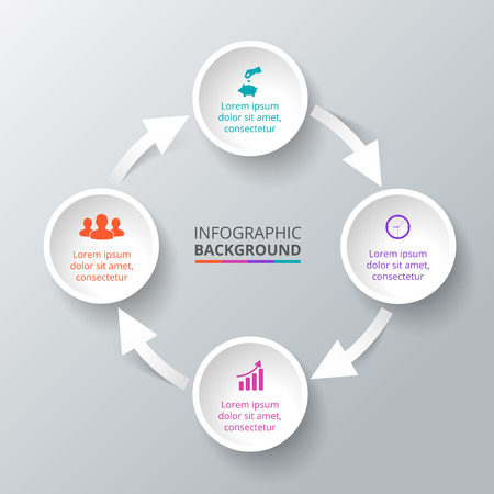 Vector circle element with arrows for infographic. Template for cycle diagram, graph, presentation. Business concept with 4 options, parts, steps or processes. Abstract background.